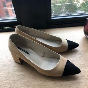 Zara cap toe beige and black heel 7.5/38 eu